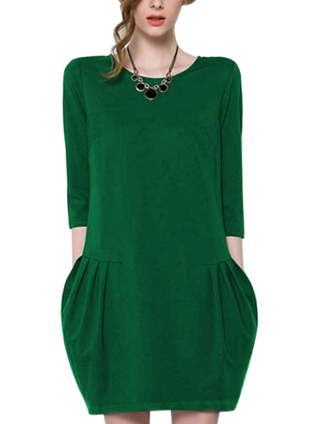 Ladies Dusty Green Zip Up Back Ruched Detail Unlined Slipover Dress M