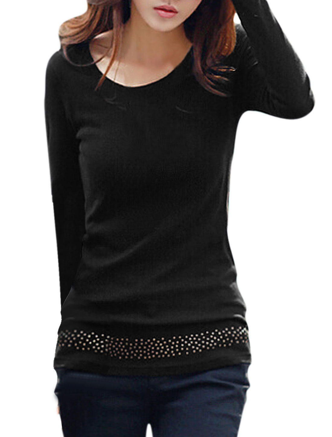 Round Neck Rivet Embellished Pullover Casual Tunic Shirt for Women Black M