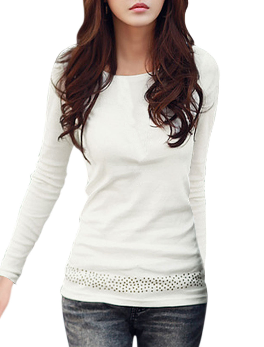 Long Sleeves Rivet Embellished Slipover Tunic Shirt for Women White M