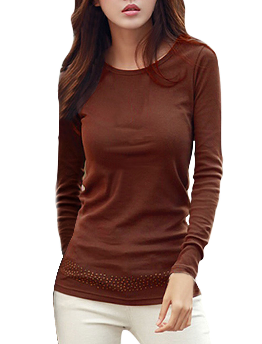 Ladies Round Neck Long Sleeves Casual Tunic Top Brown M
