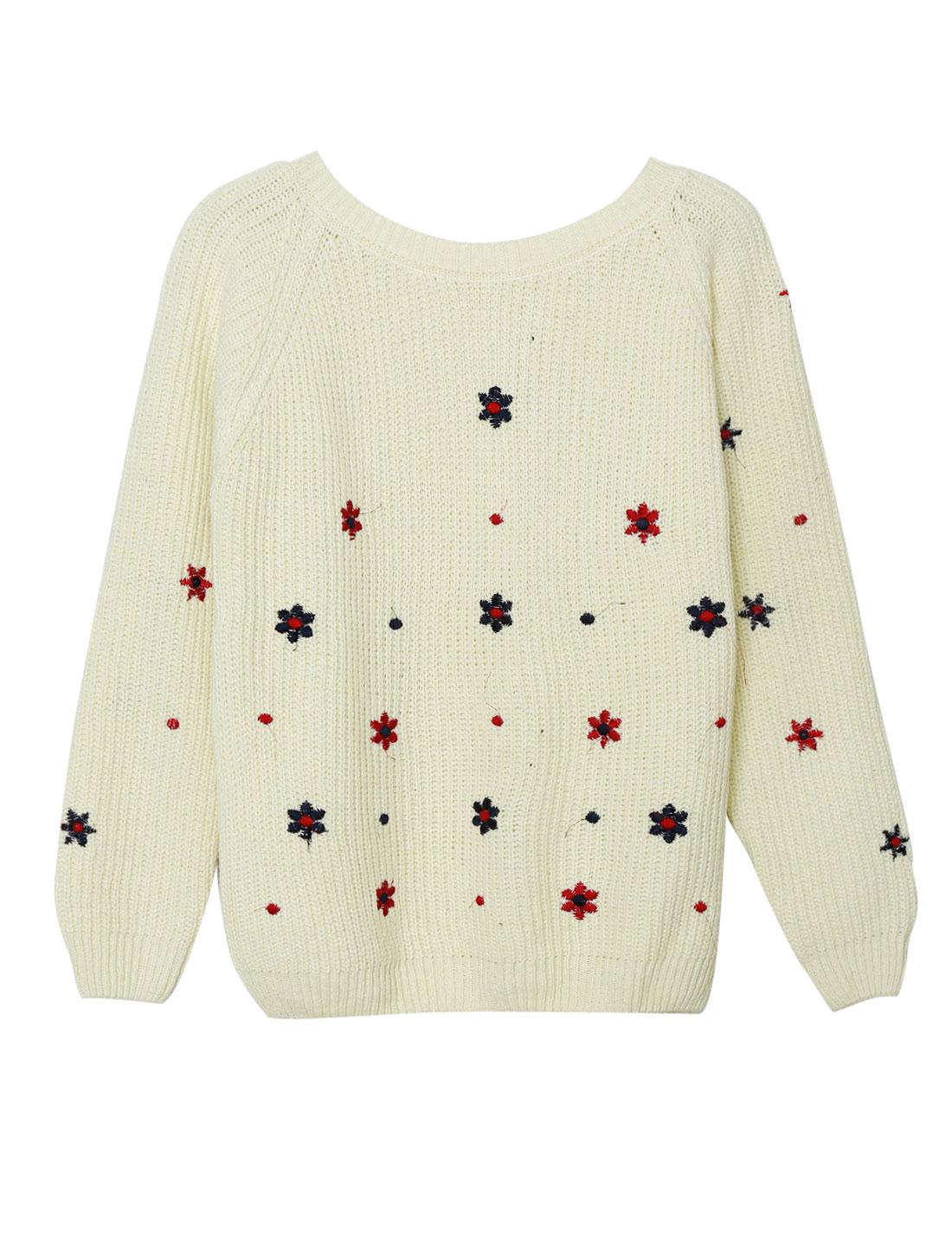 Ladies Beige Pullover Flower Embroidery Raglan Long Sleeves Sweater XS