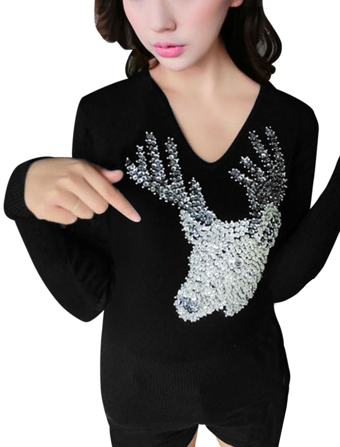 Women Sequin Deer V Neck Long Sleeve Knitted Shirt Black M