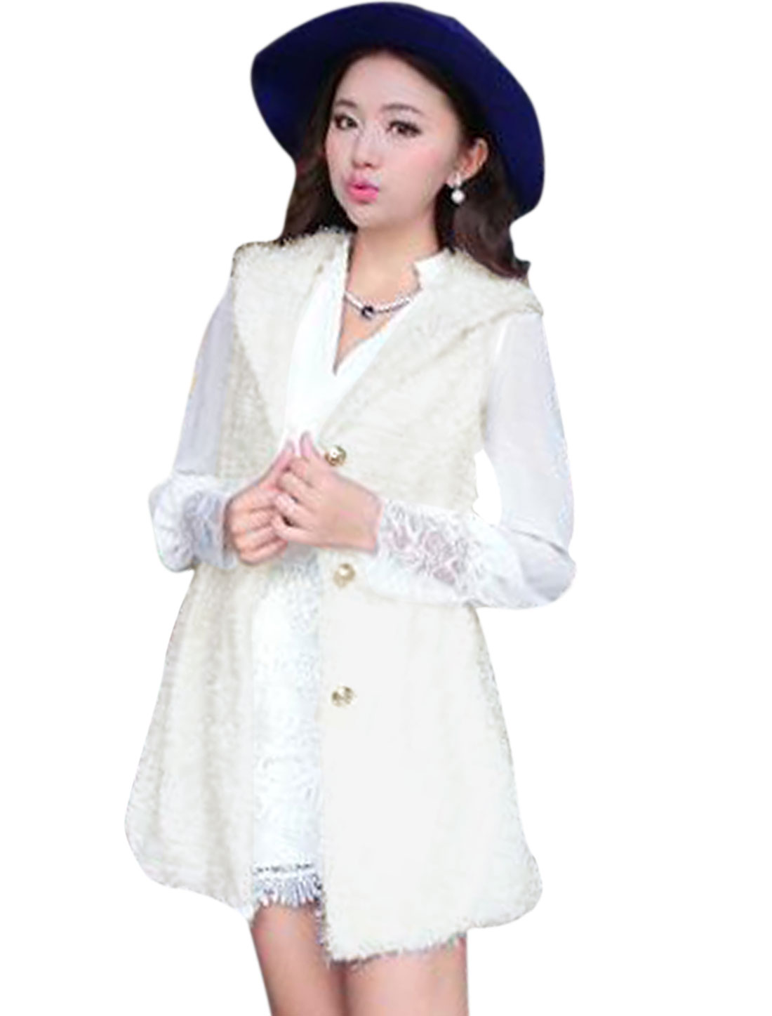 Hooded Single Breasted Leisure Plush Vest Jacket for Women White S