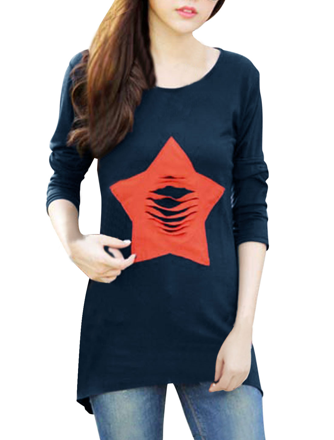 Ladies Pullover Star Applique Asymmetric Hem Navy Blue Tunic Shirt S