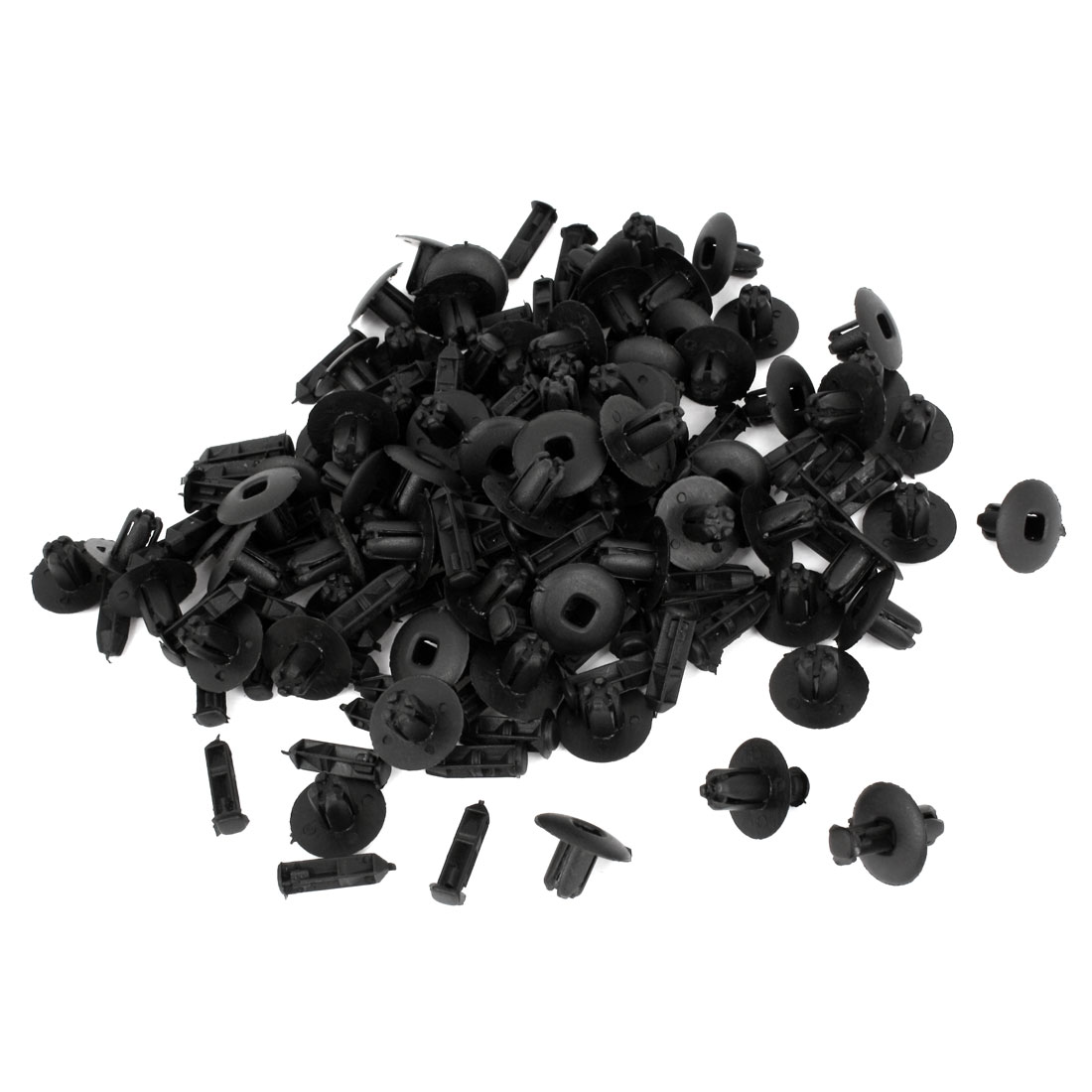 100 Pcs 8mm Hole Dia Black Plastic Rivet Fastener Clips for Auto Truck