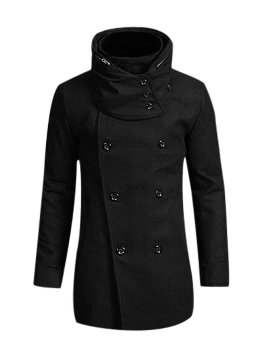 Men Convertible Collar Button Down Fashion Trench Jacket Black M
