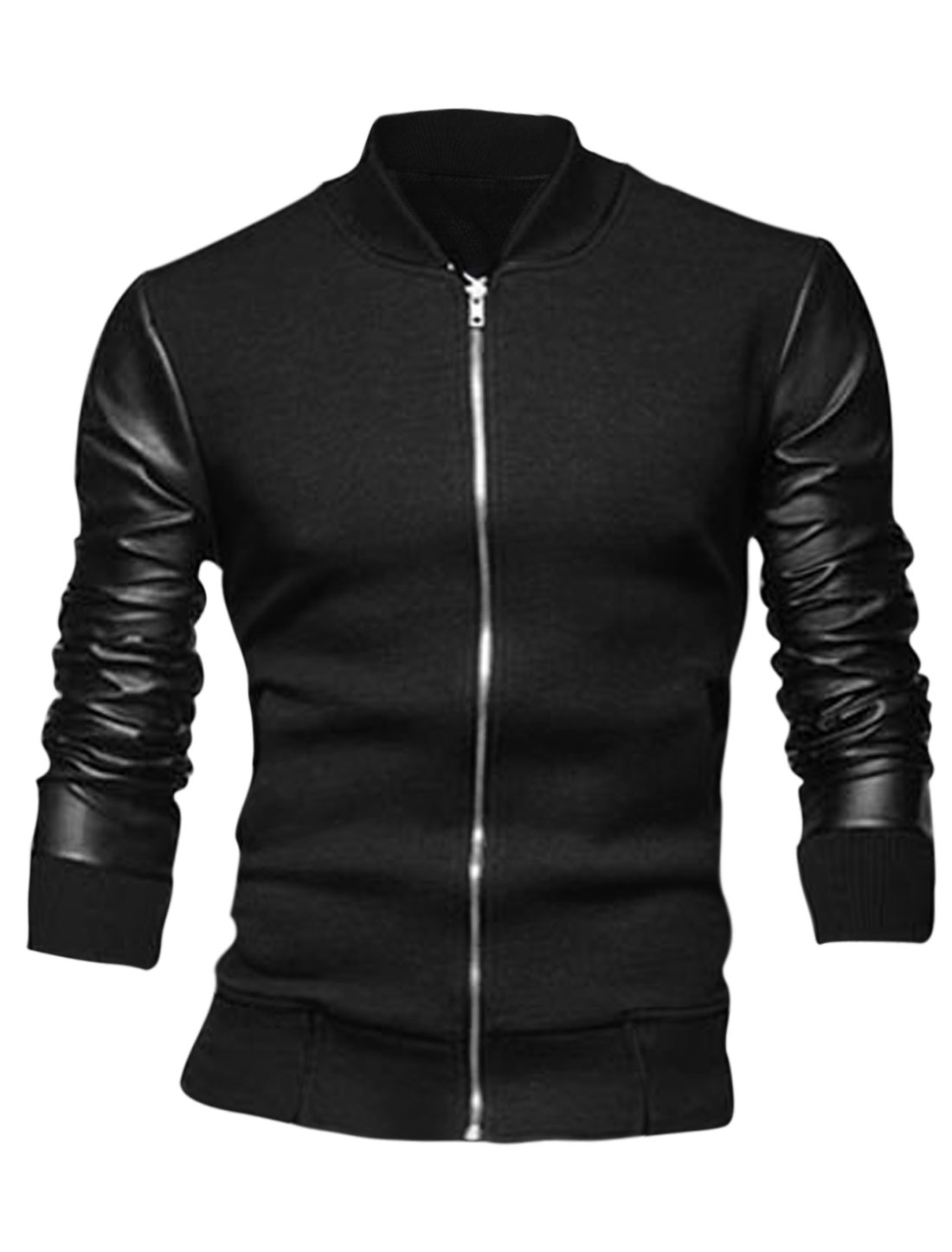 Men Black Zip Fly Front Pockets Splice Ribbed Cuffs Jacket S