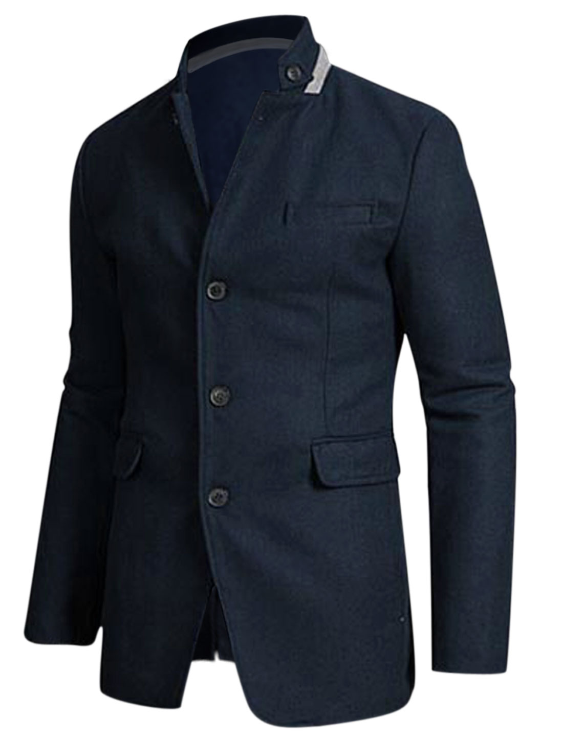Men Navy Blue Single Breasted Front Pockets Split Back Worsted Jacket M