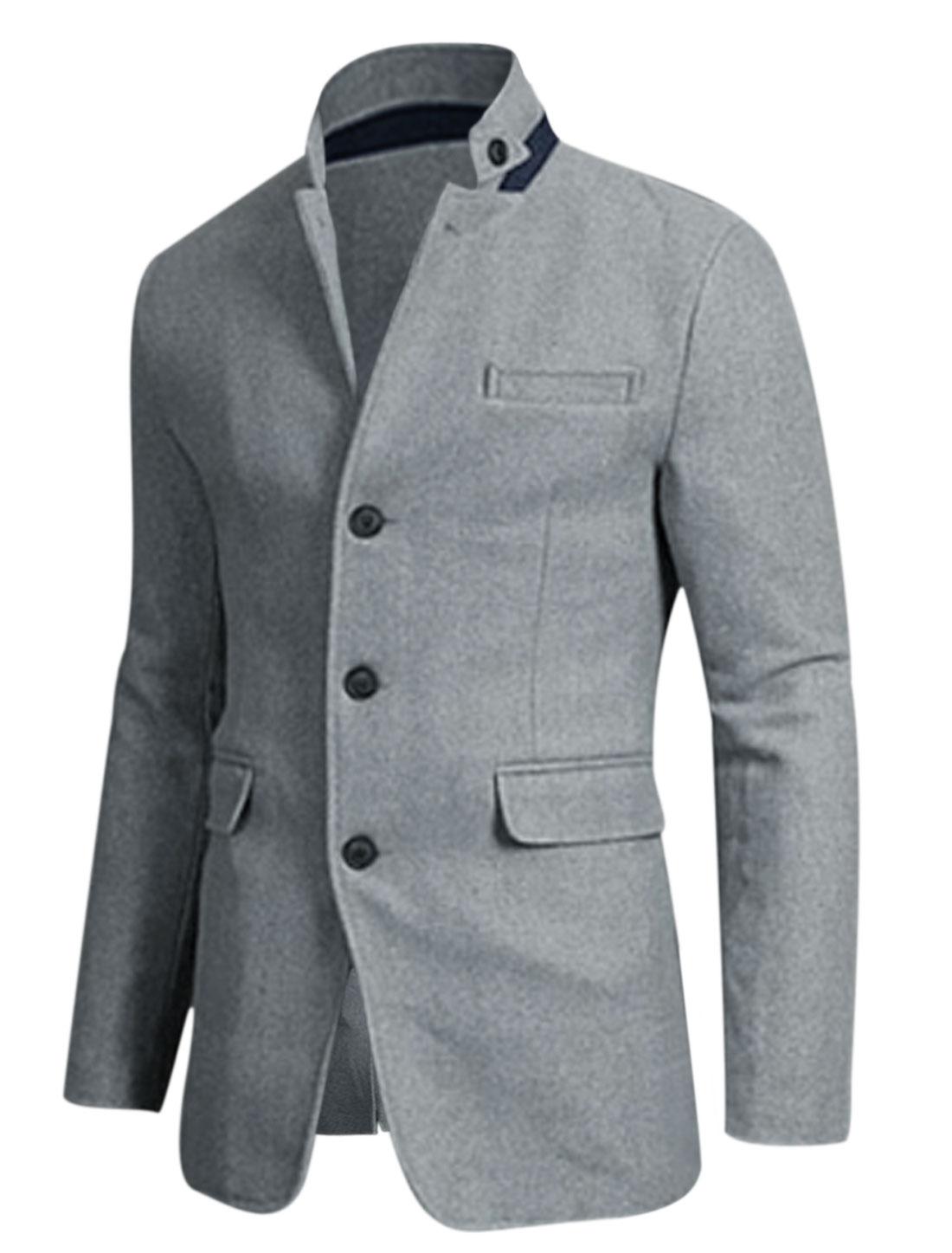 Men Light Gray Button Closure Front Pockets Slim Cut Split Back Worsted Jacket M