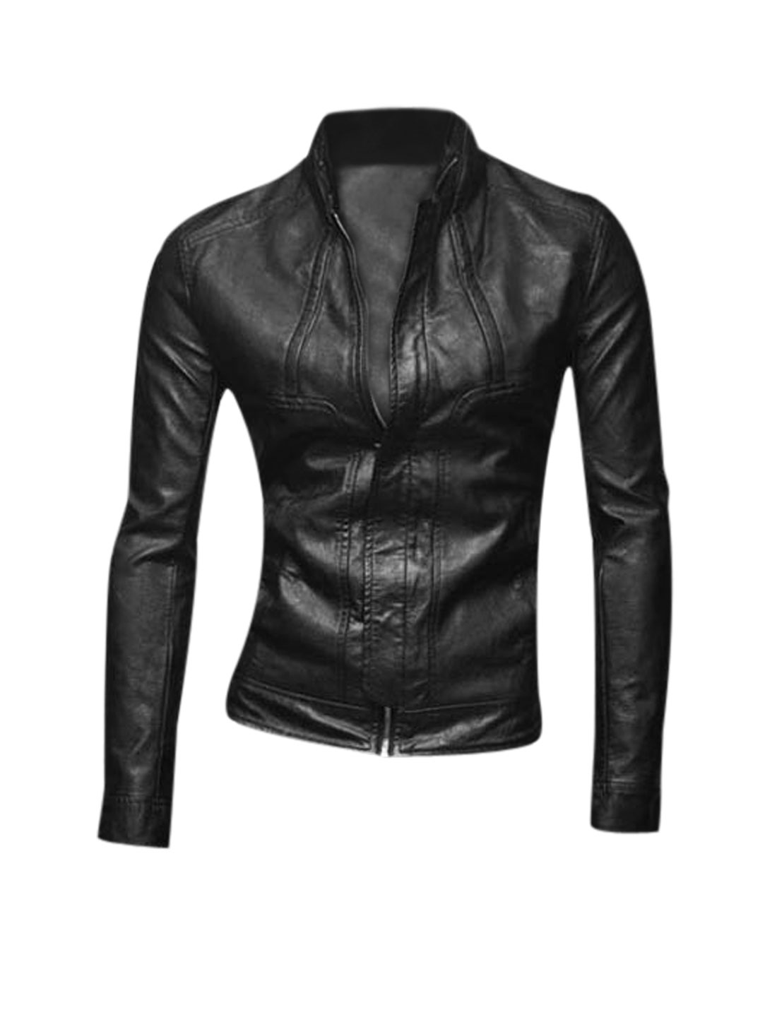 Stand Collar Zip Closed Trendy Imitation Leather Jacket for Men Black M
