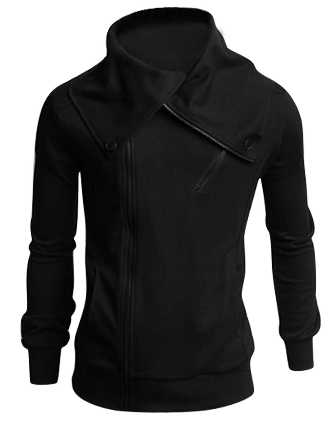 Turn Down Collar Zip Closed Casual Jacket for Men Black M