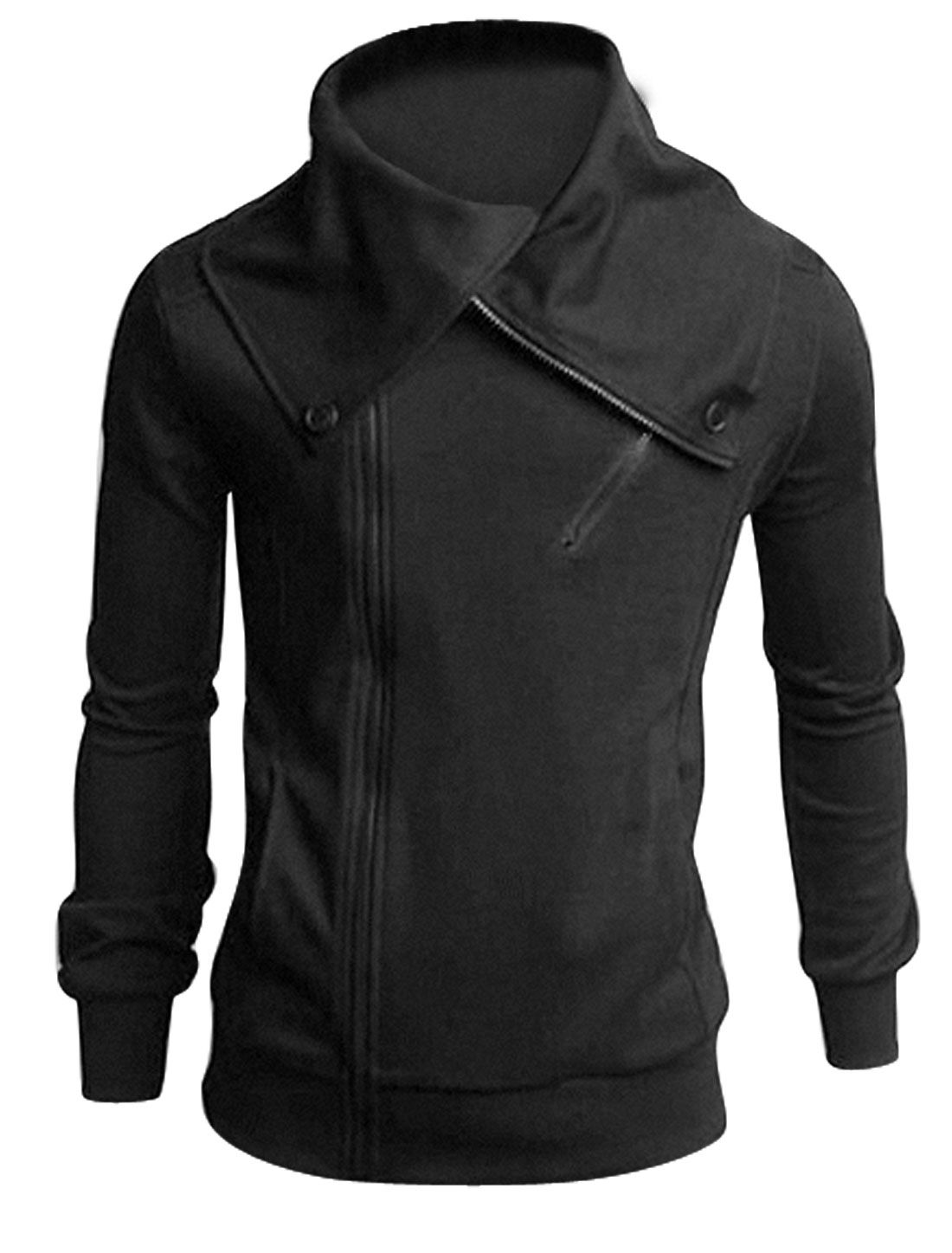 Men Long Sleeves Zip Up Zip Decor Trendy Jackets Dark Gray M