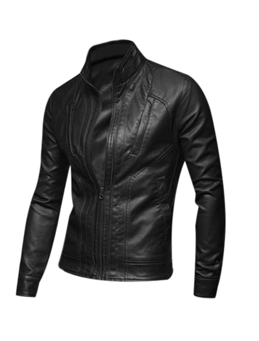 Stand Collar Zip Closed Casual Imitation Leather Jacket for Men Black M