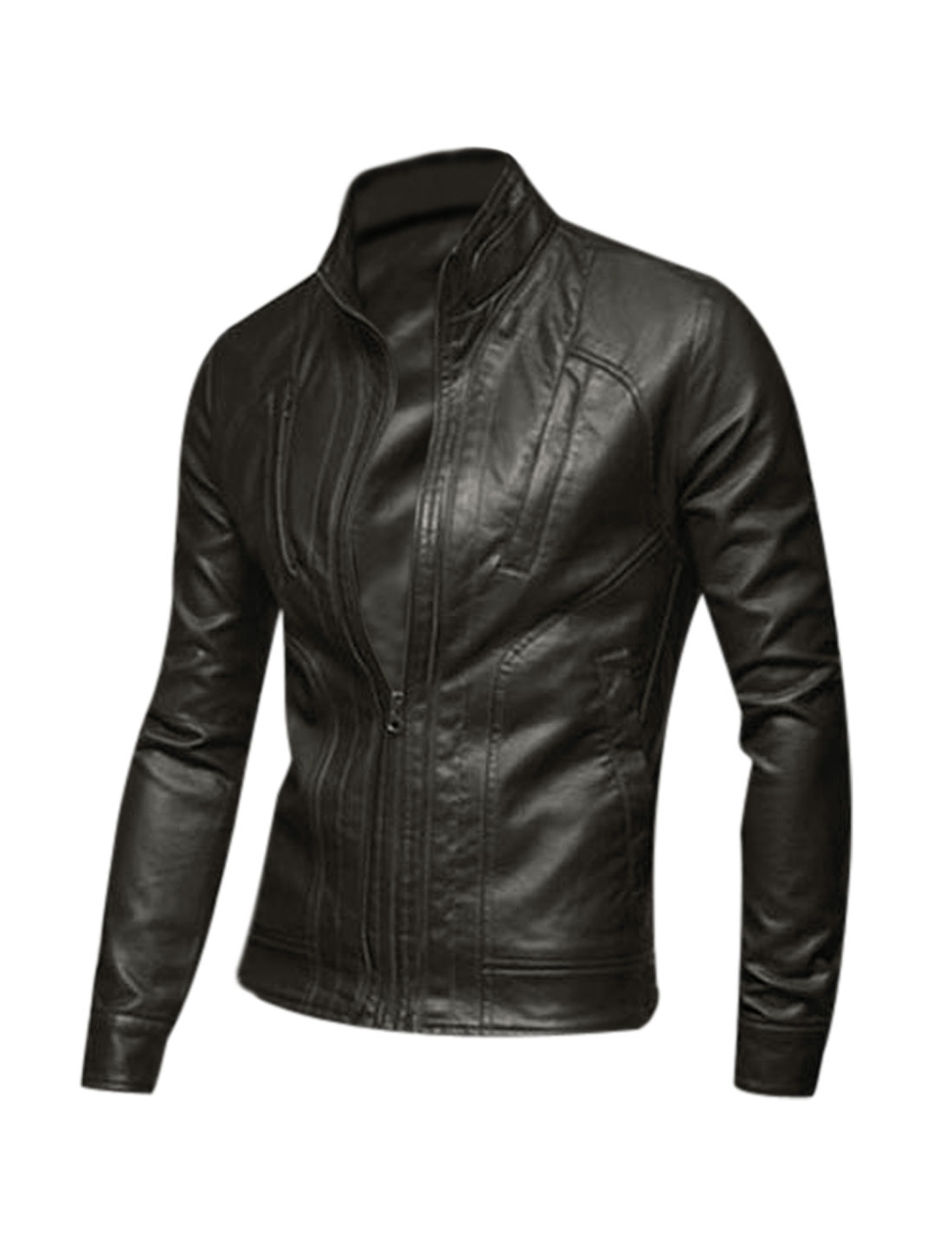 Men Long Sleeves Full Zip Chic Imitation Leather Jacket Brown M