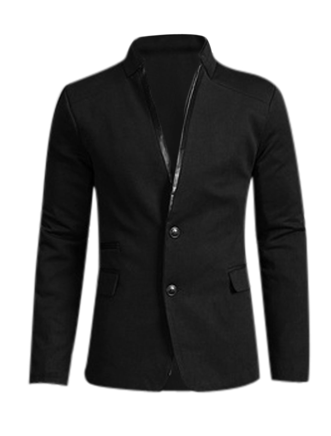 Men Black Single Breasted Front Pockets Split Back Blazer Jacket M