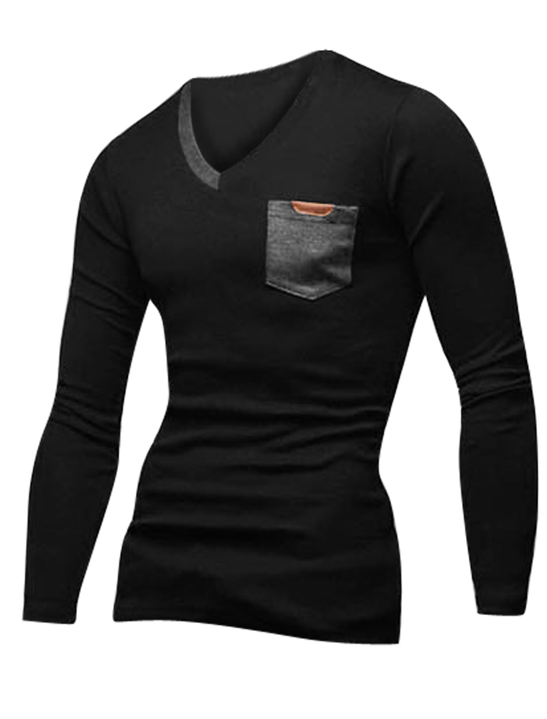 V Neck Long Sleeves Pullover Casual T-Shirt for Men Black Gray M