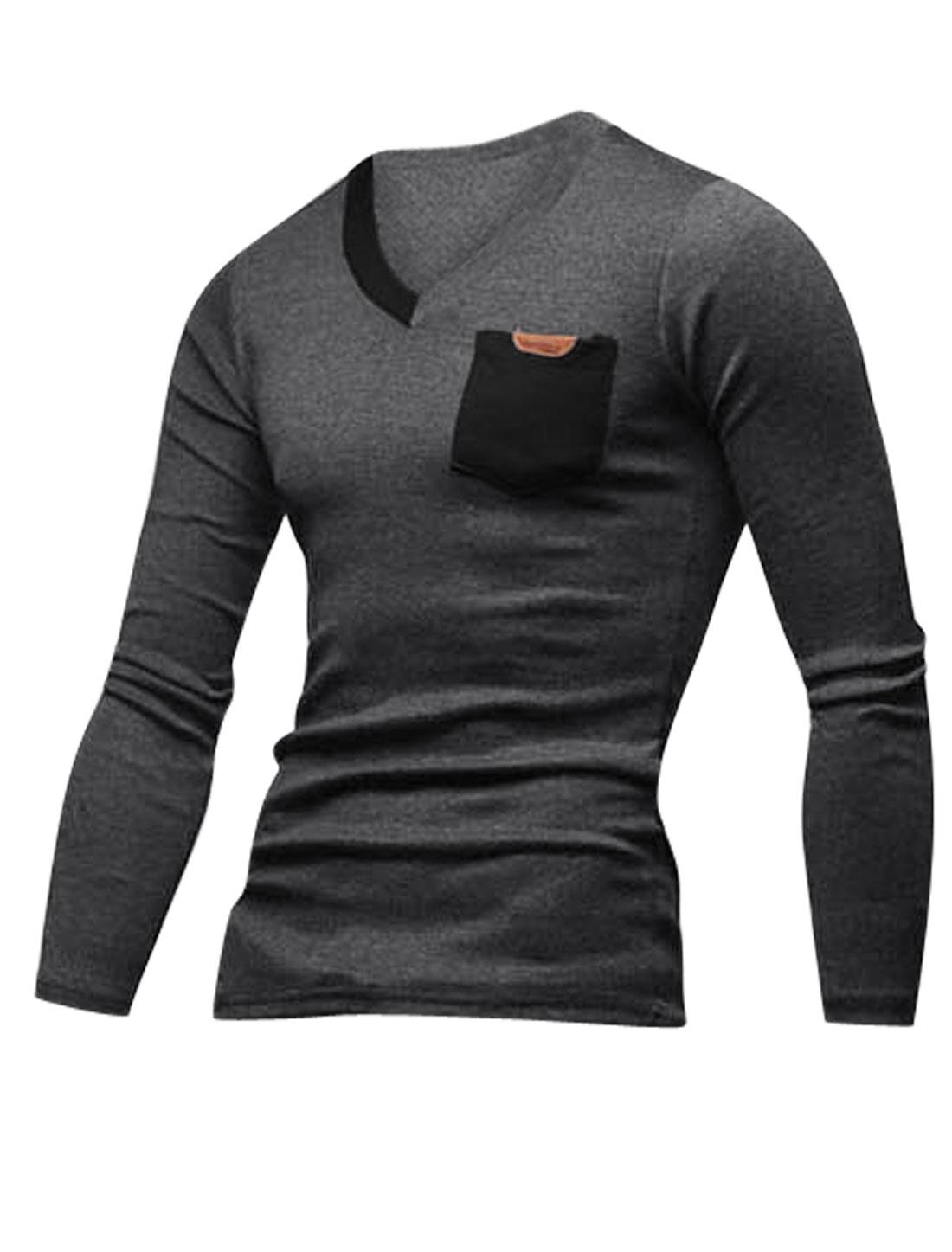 Men Long Sleeves V Neckline Slipover Trendy T-Shirt Dark Gray Black M