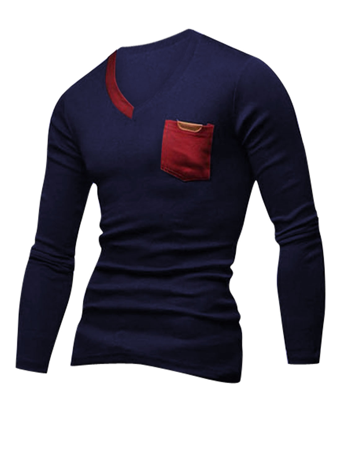 Men V Neck Long Sleeves Slipover Trendy T-Shirt Navy Blue Red M