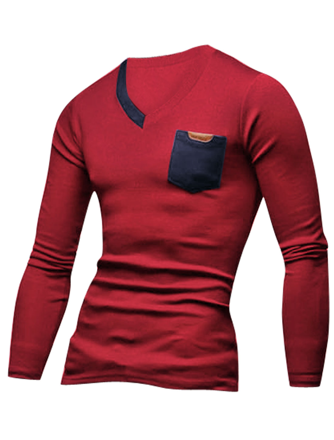 Men Long Sleeves V Neckline Pullover Fashion T-Shirt Burgundy Navy Blue M