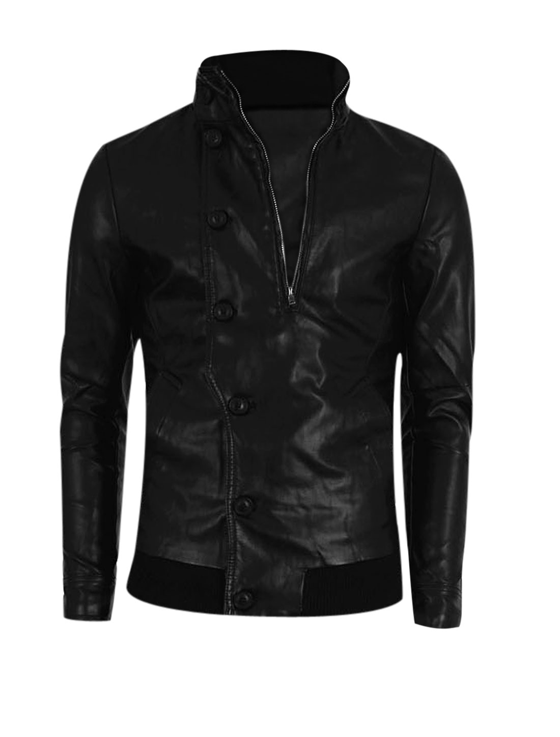Men Stand Collar Double Zip Closed Chic Imitation Leather Jacket Black M