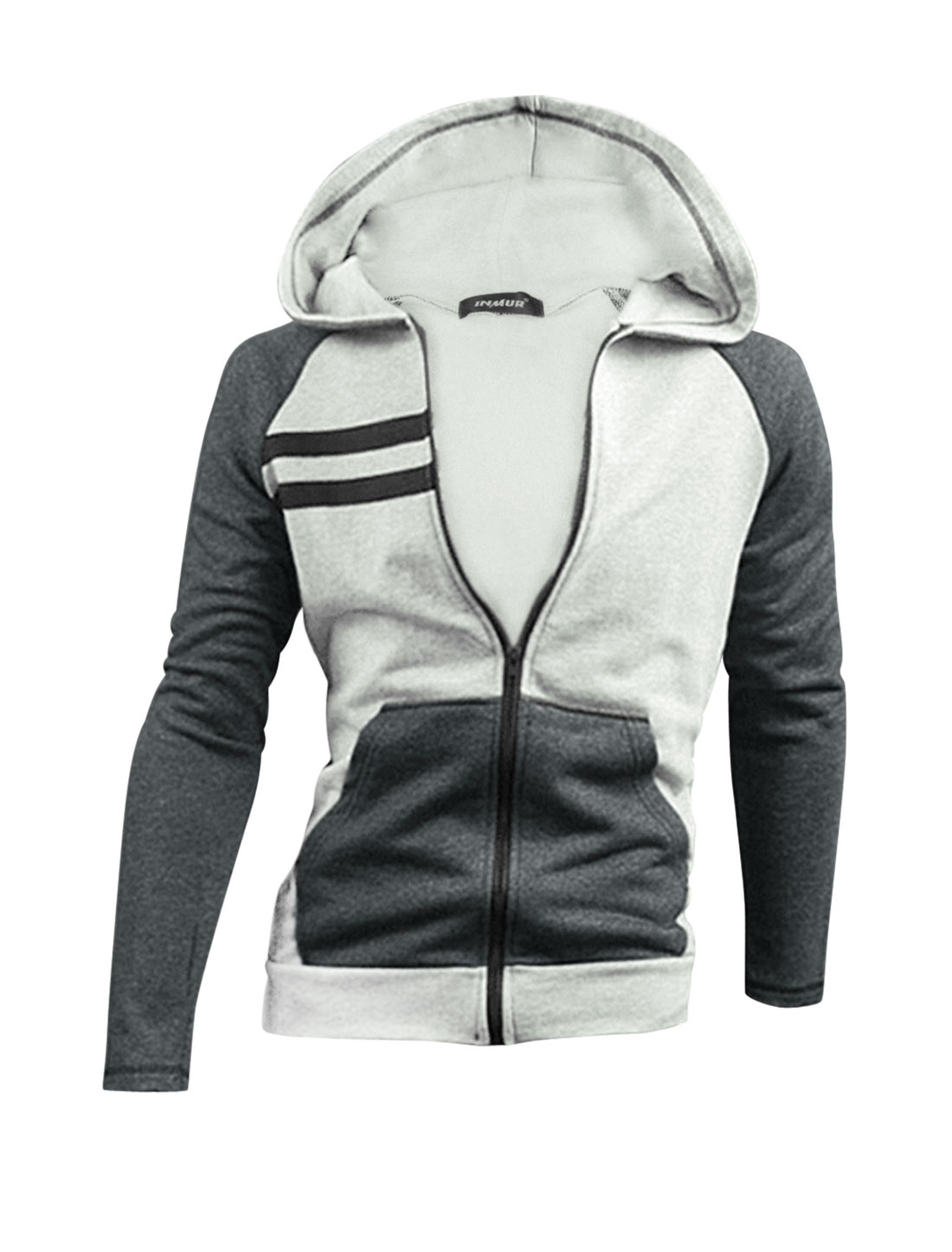 Men Light Gray Zip Closure Front Pockets Color Block Hoodie Jacket M