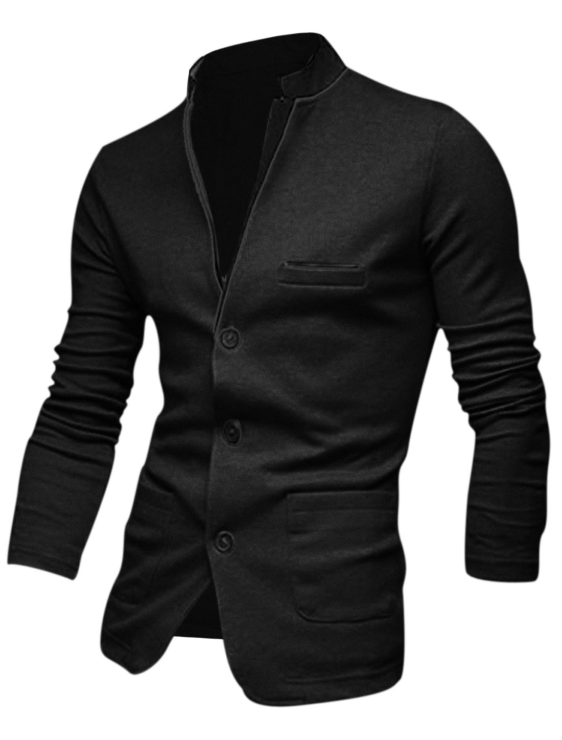 Men Black Single Breasted Splice Front Pockets Leisure Cardigan M