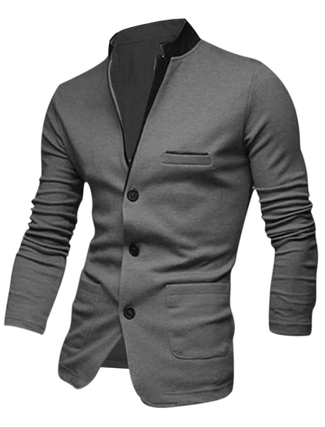 Men Gray Button Closure Splice Front Pockets Leisure Cardigan M