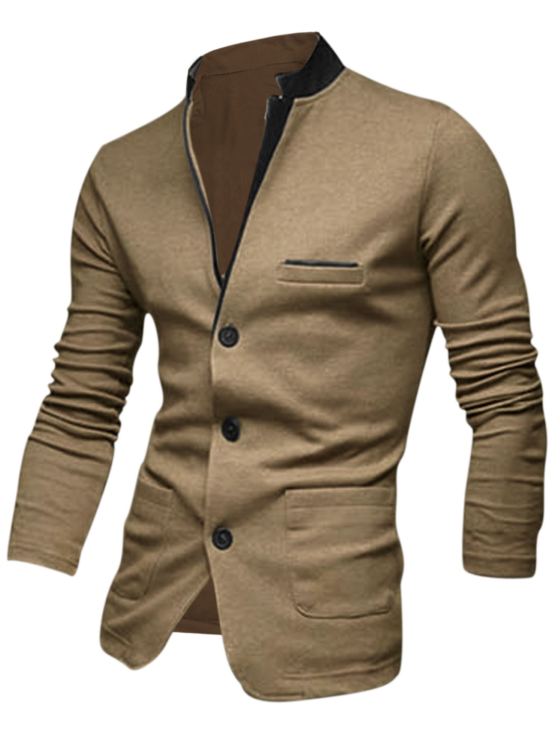 Men Khaki Button Down Splicing Front Pockets Leisure Cardigan M