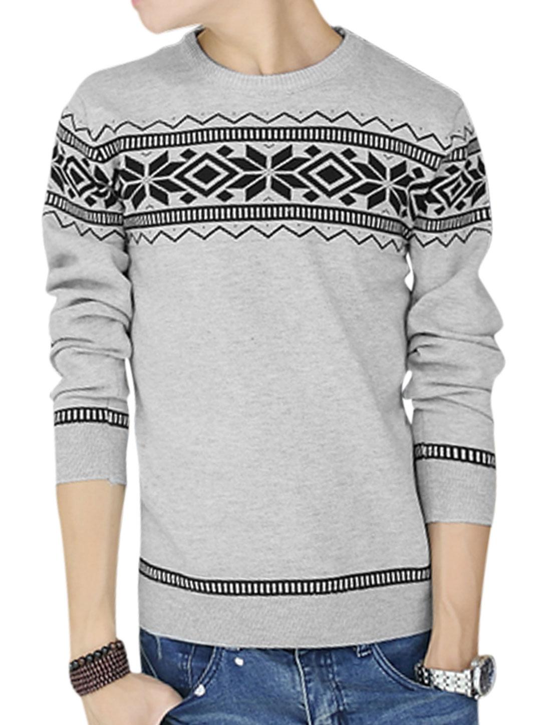 Men Gray Pullover Geometric Zigzag Prints Ribbed Trim Leisure Sweater M