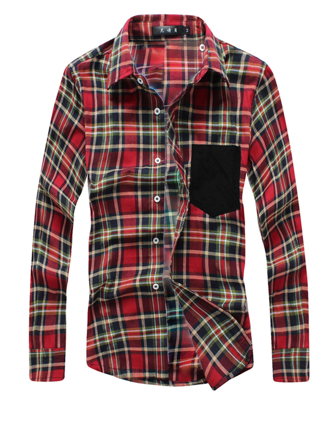 Man Slim Fit Plaids Point Collar Button Down Casual Shirts Red M
