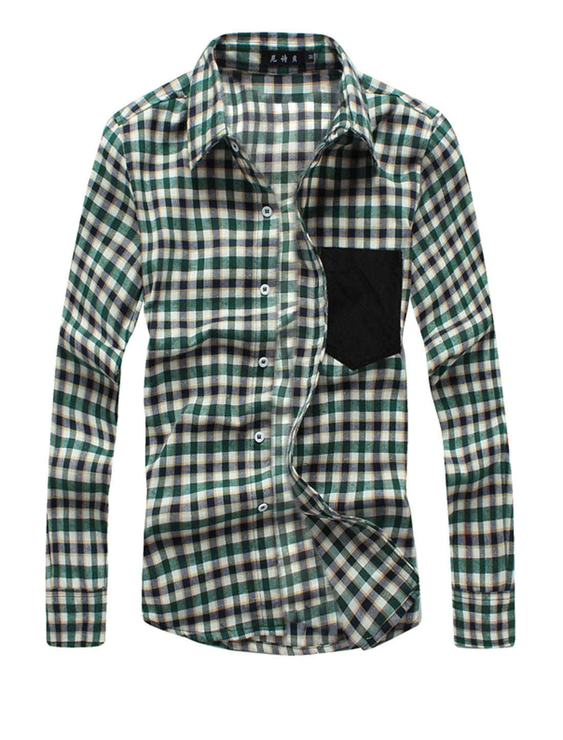 Man New Style Plaids Full Sleeve Point Collar Green Beige Casual Shirts M