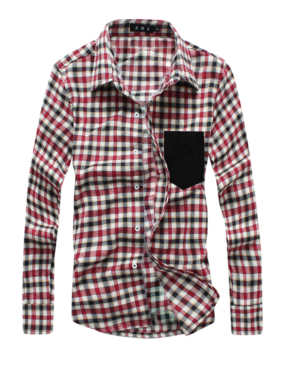 Man Plaids Pattern Button Up Point Collar Casual Shirts Burgundy Beige M