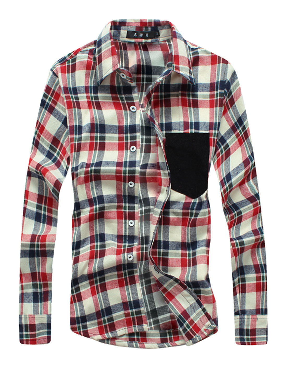 Men Plaids Long Sleeves Button Down Casual Shirts Red Beige M
