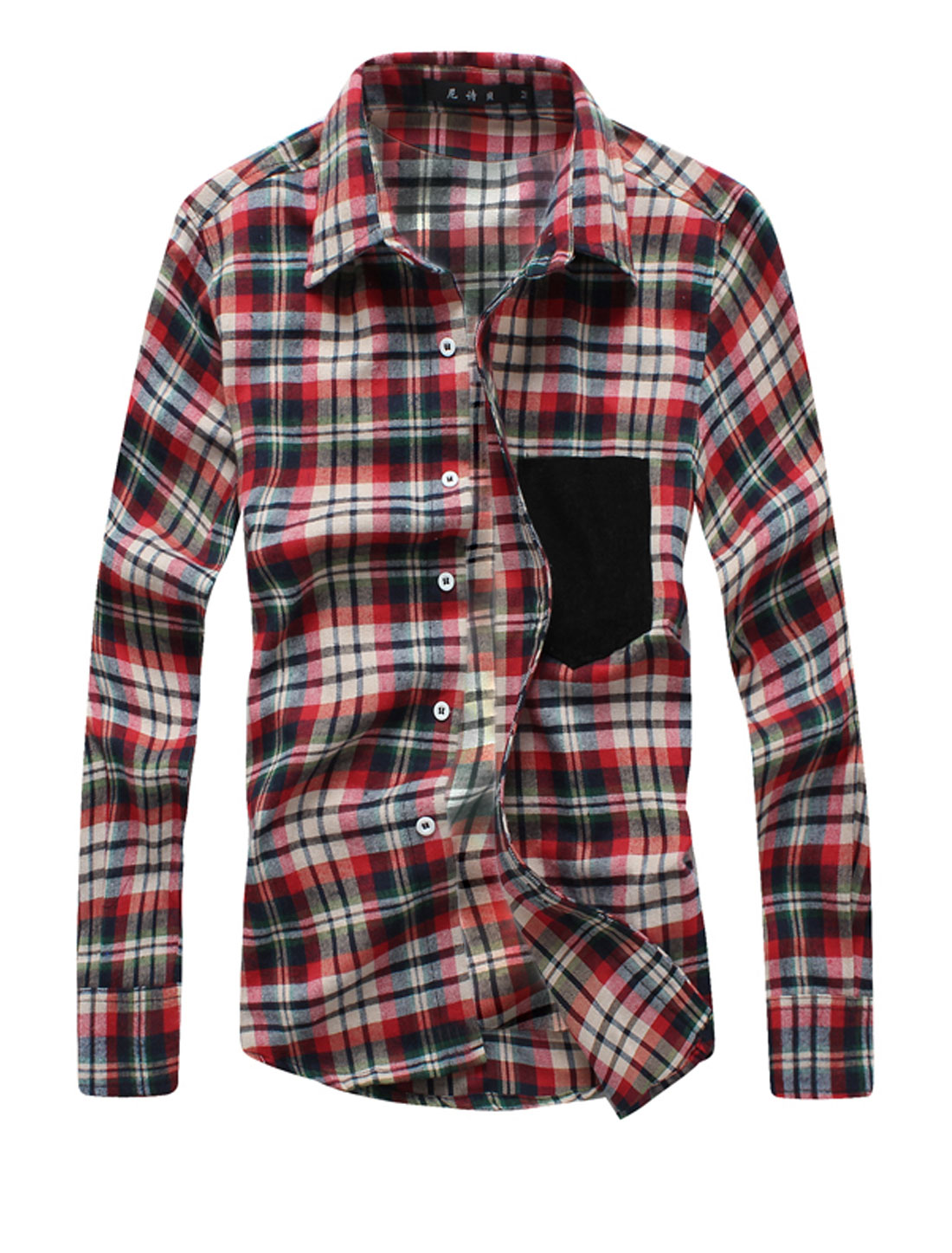 Man Chic Point Collar Plaids Button Down Casual Shirt Red Green M