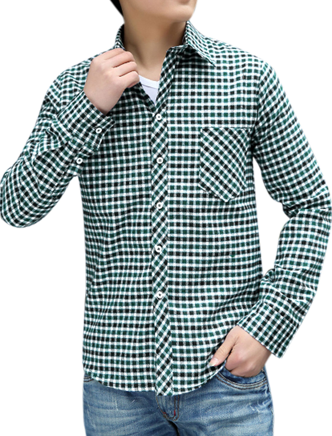 Man Plaids Long Sleeves Button Closed Front Shirts Green White M