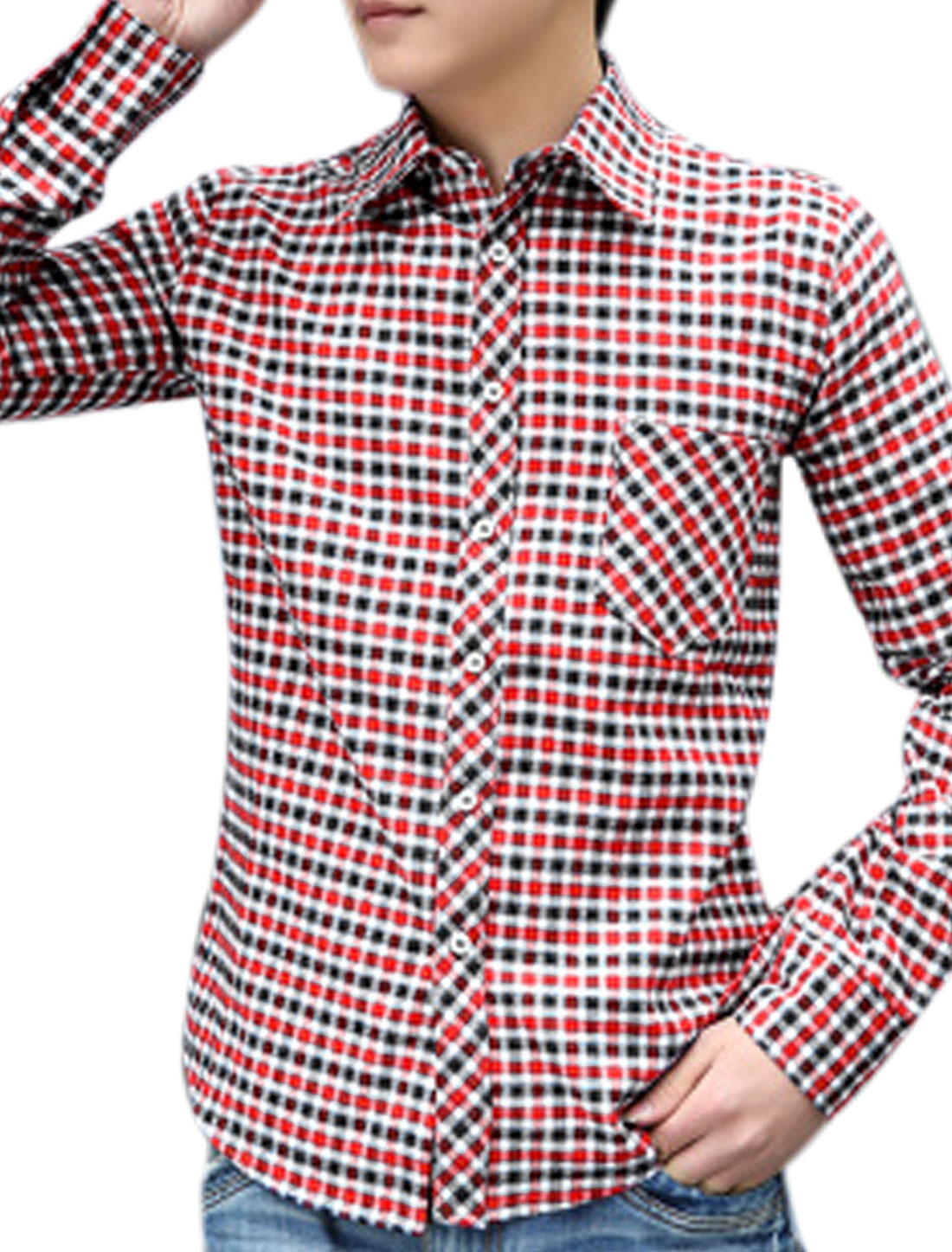 Men Plaids Point Collar Button Down Leisure Red White Shirts M