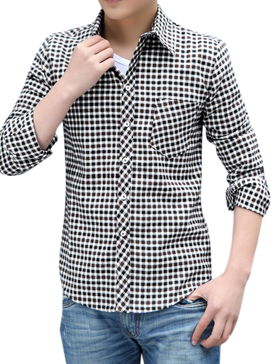 Leisure Full Sleeve Point Collar Plaids Coffee White Shirts for Men M