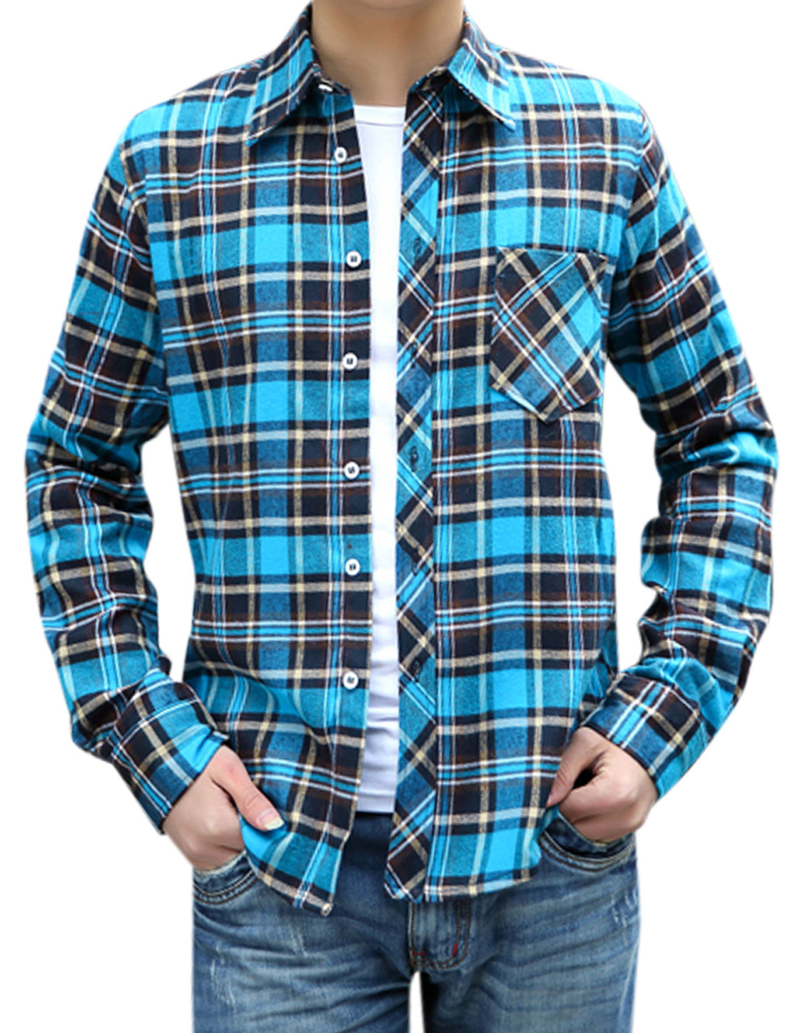 Man Long Sleeves Plaids Pattern Button Up Casual Shirt Blue M