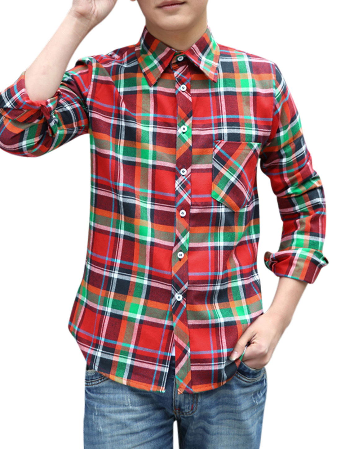 Men Chic Plaids Full Sleeve Point Collar Casual Shirts Red M