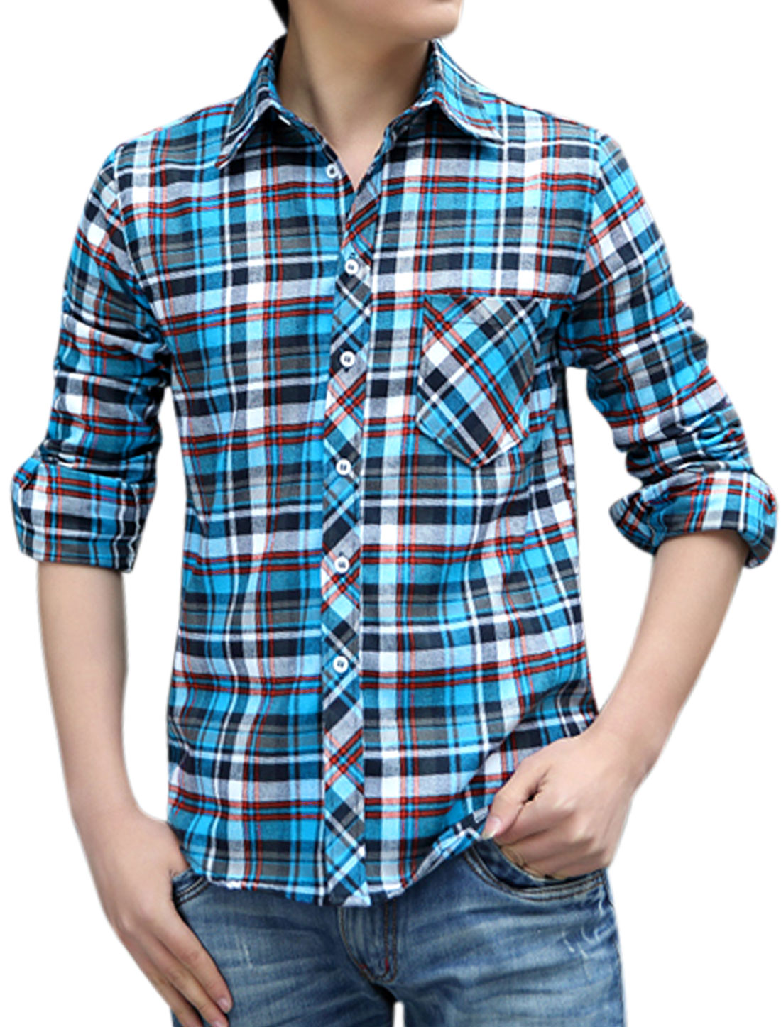 Man Plaids Single Breasted Long Sleeves Leisure Shirts Blue M