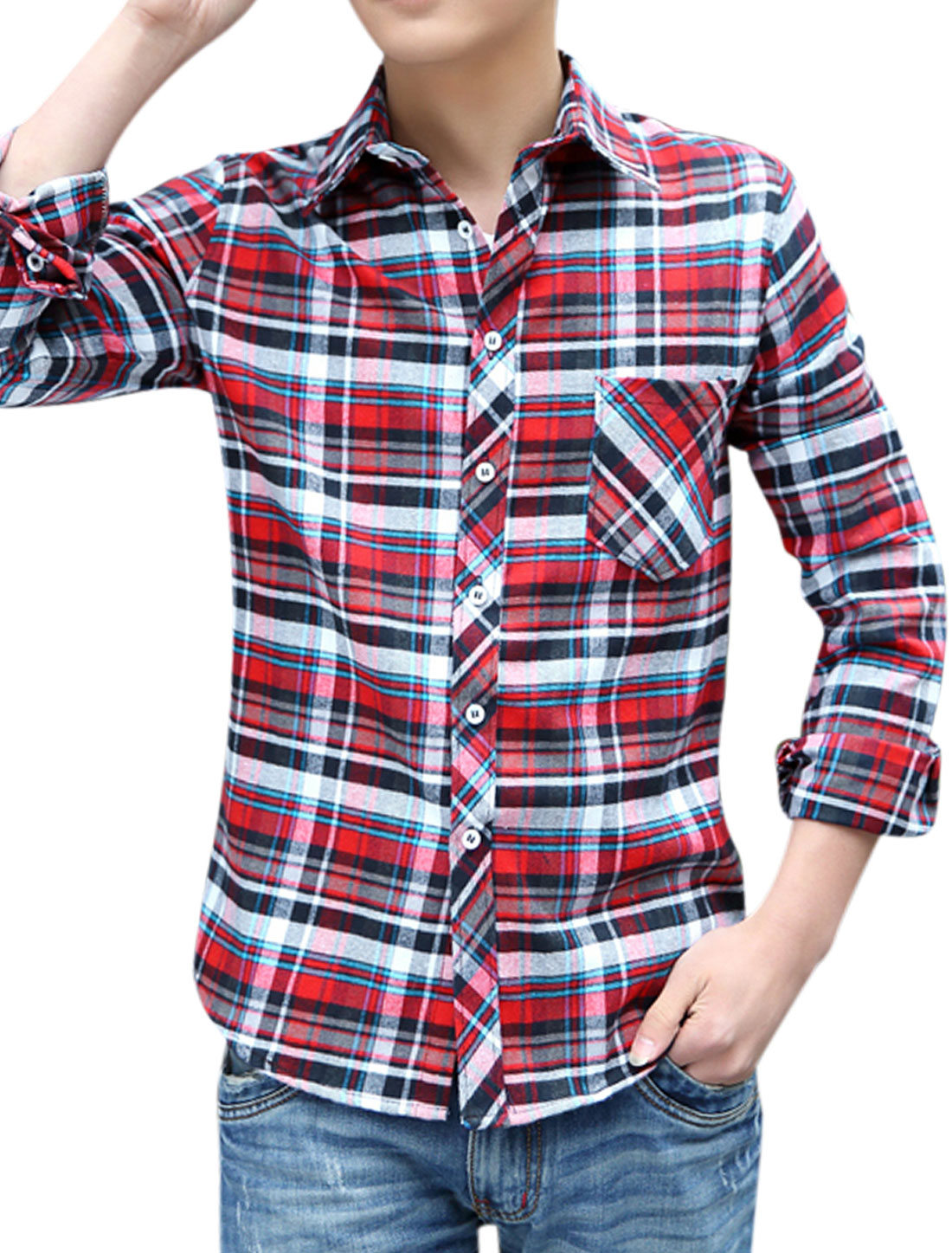 Men Stylish Design Plaids Button Up Point Collar Shirts Red Blue M