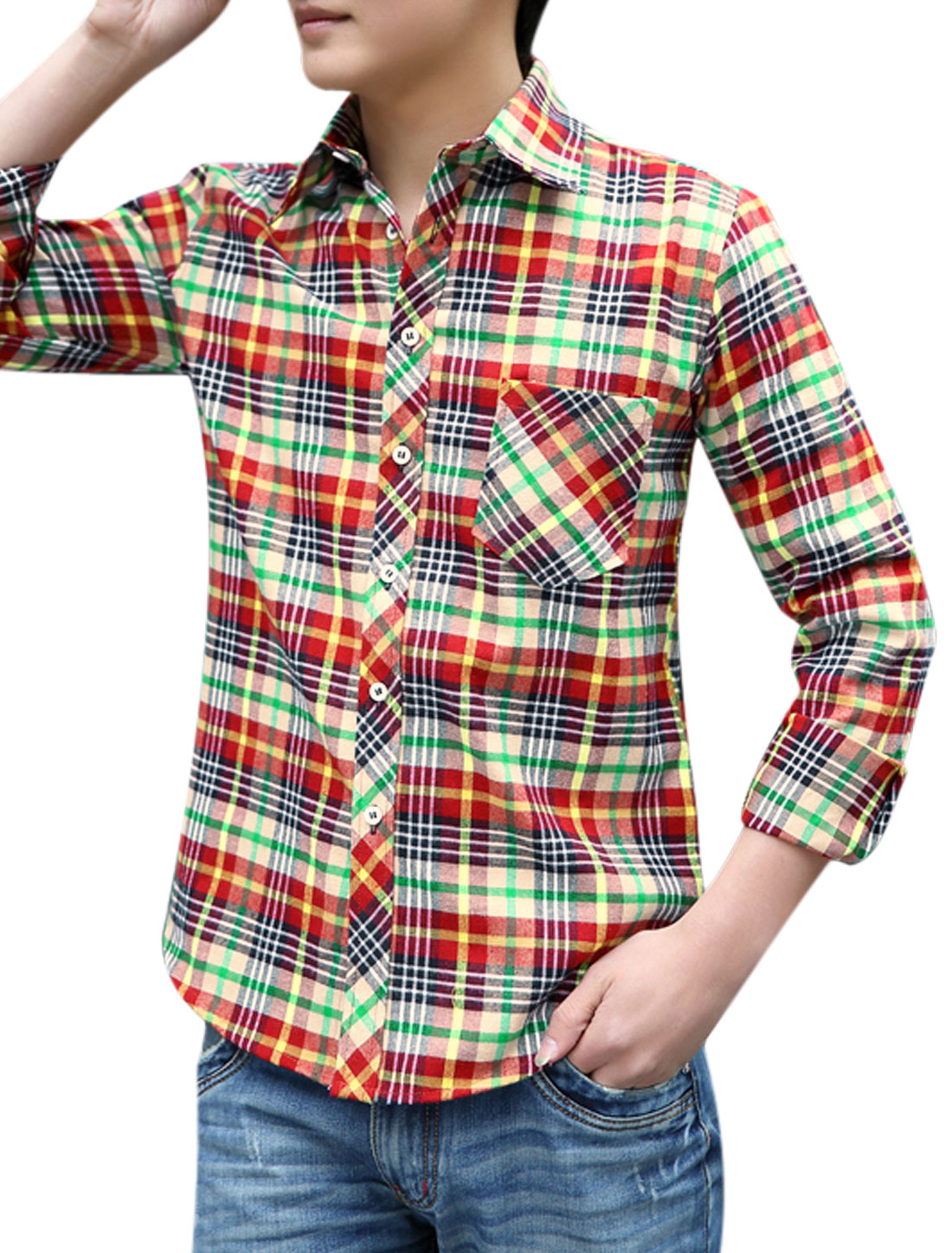 Men Button Down Plaids Point Collar Stylish Shirts Red Yellow M