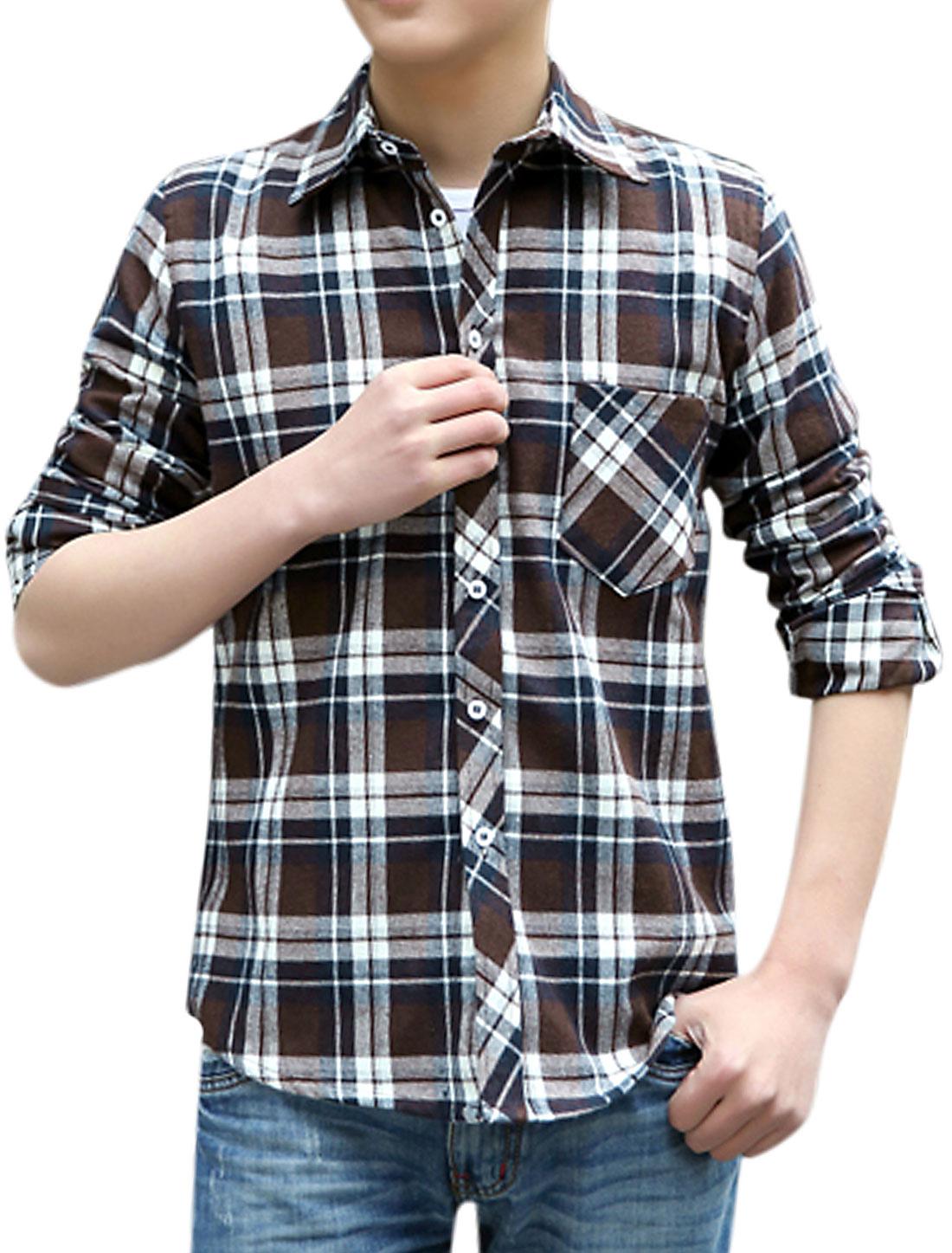 Men Plaids Long Sleeve Button Down Casual Shirts Coffee Beige M