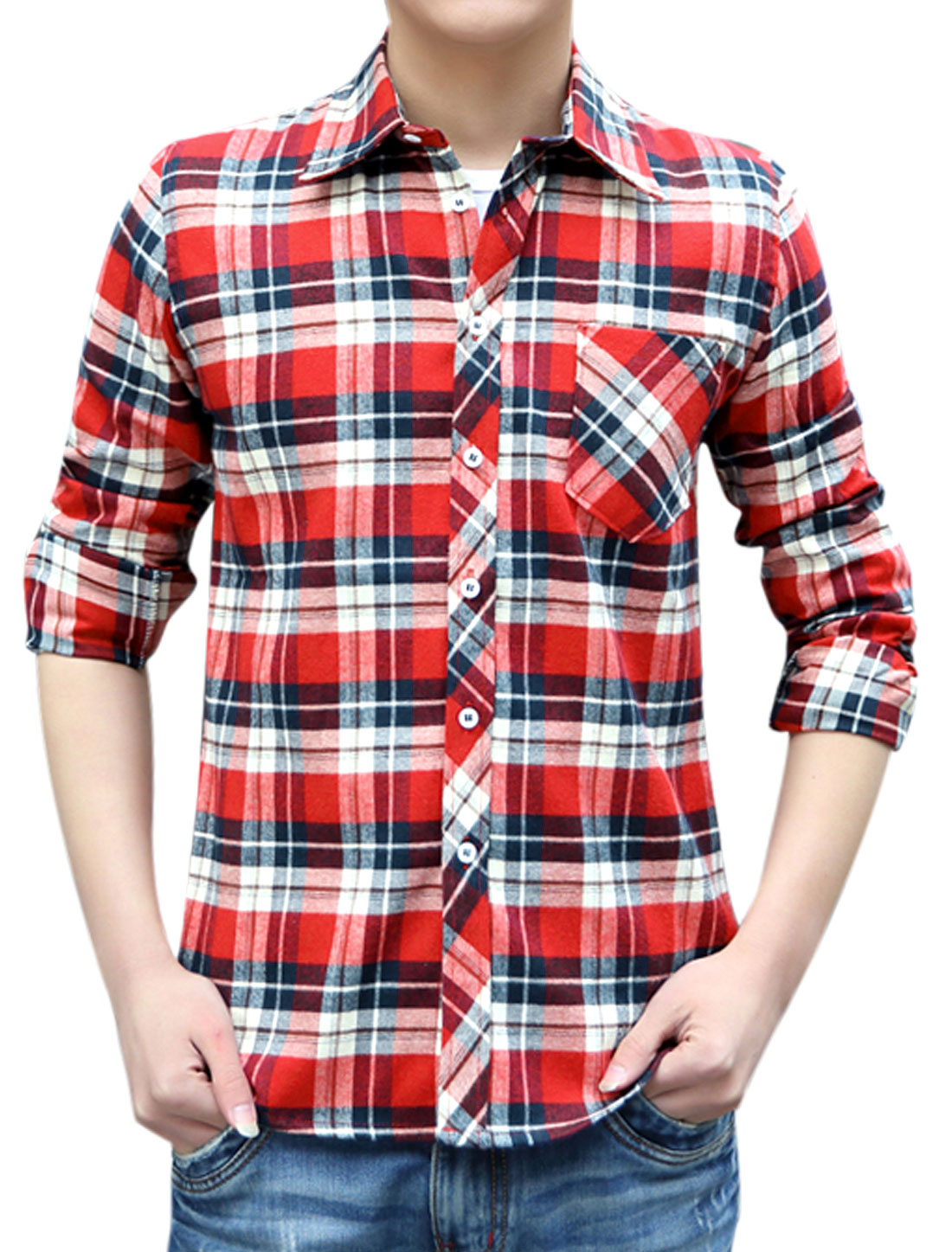Single Breasted Point Collar Red Beige Plaids Casual Shirts for Man M