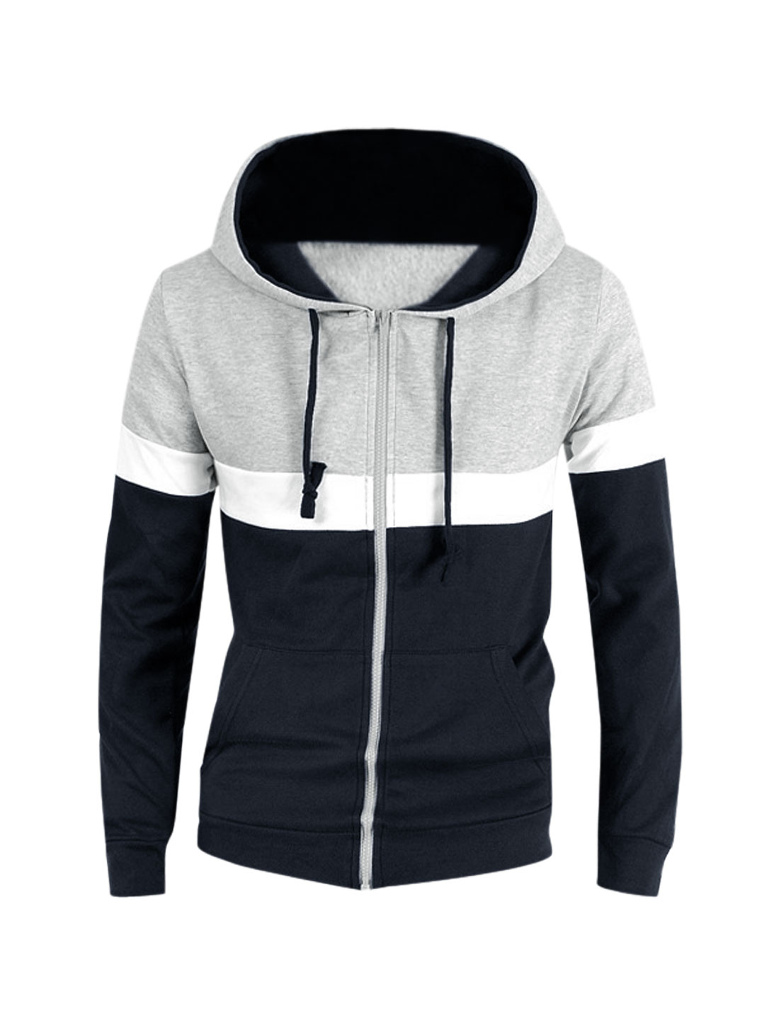 Men Navy Blue Gray Zip Fly Color Block Drawstring Hoodie Jacket S