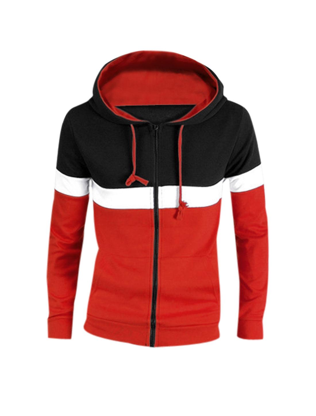 Men Black Red Zip Down Color Block Front Pockets Hoodie Jacket S