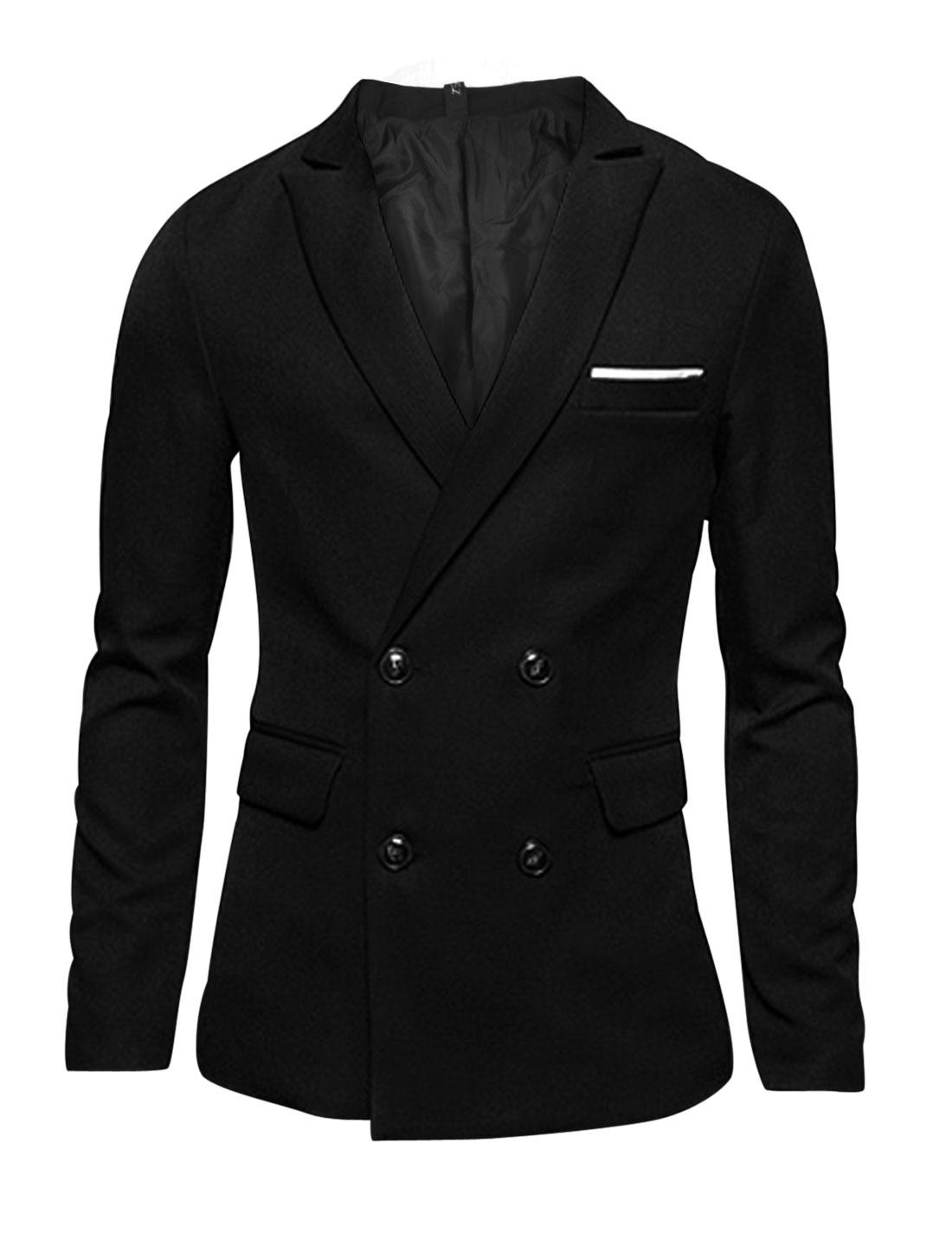 Men Black Double Breasted Peaked Lapel Split Back Blazer Jacket M
