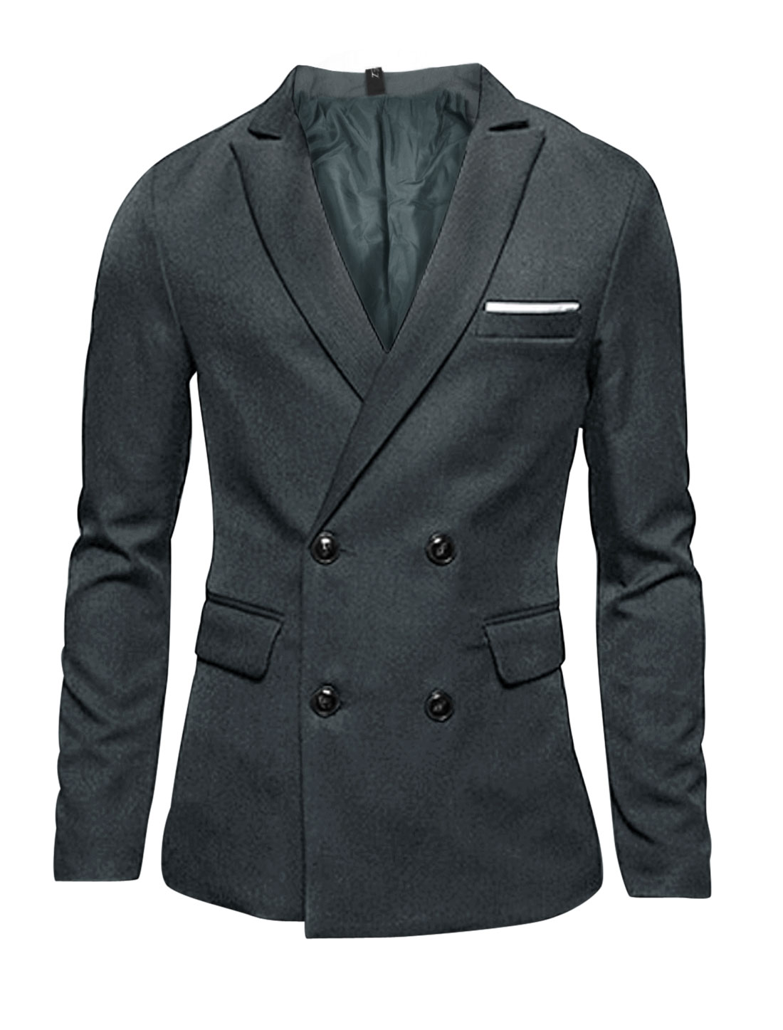 Men Gray Double Breasted Long Sleeves Split Back Blazer Jacket M
