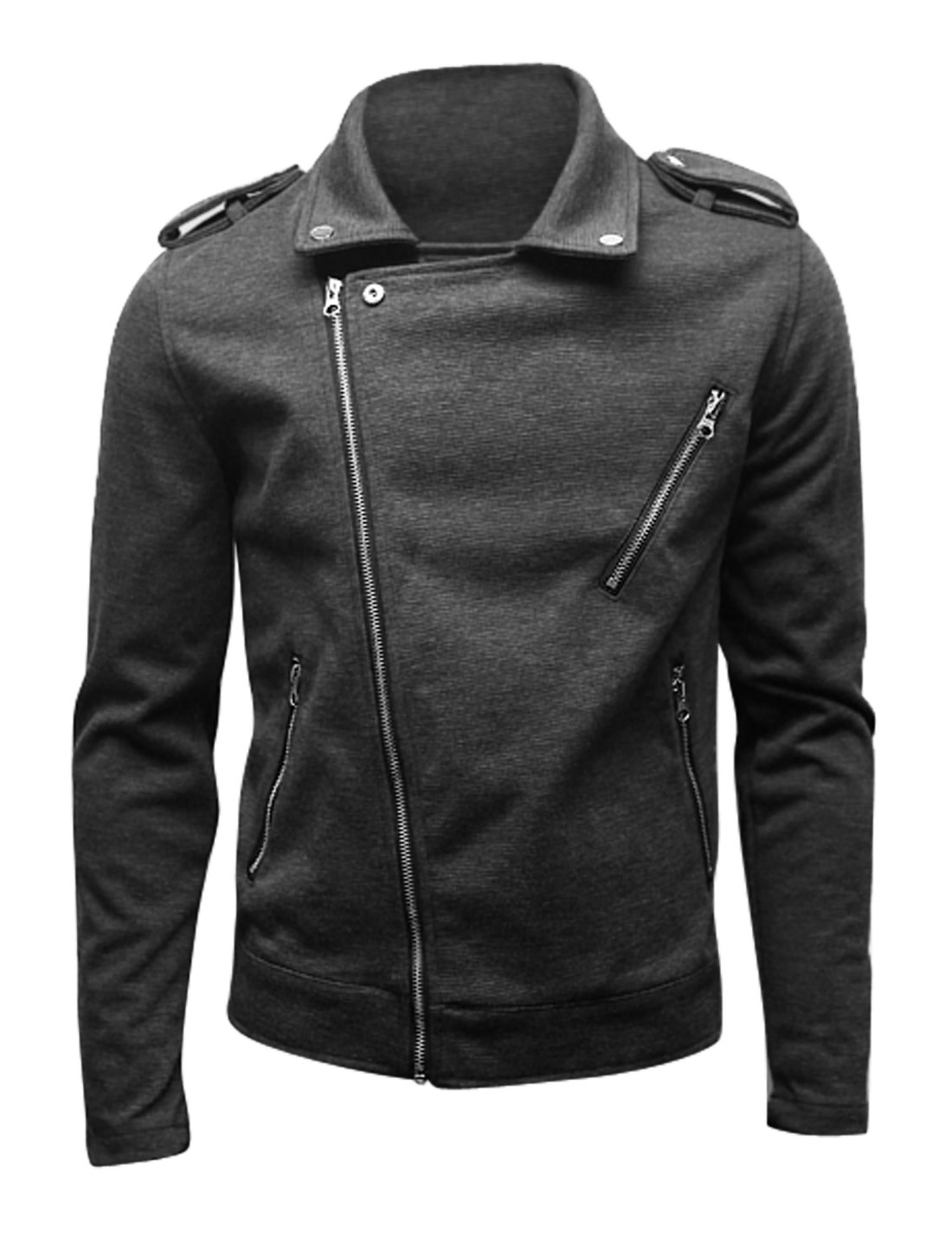 Men Convertible Collar Zip Closure Casual Design Jacket Dark Gray M