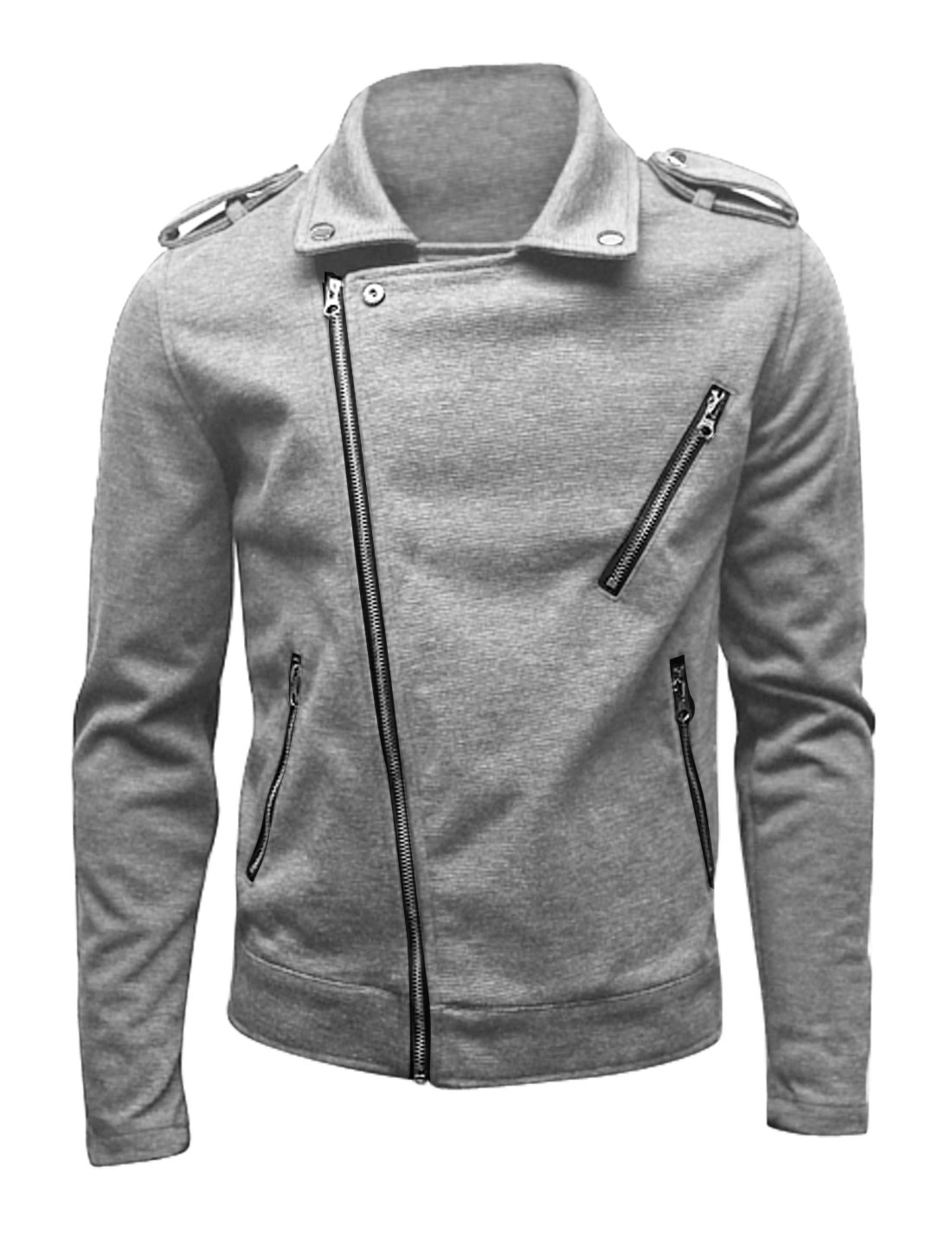 Light Gray Men Long Sleeves Full Zip Trendy Jackets M
